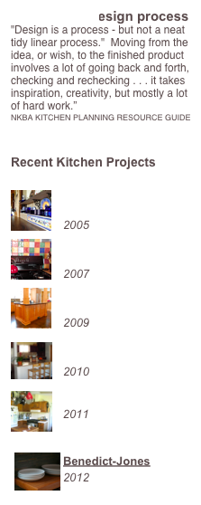 "The kitchen design process ""Design is a process - but not a neat tidy linear process.""  Moving from the idea, or wish, to the finished product involves a lot of going back and forth, checking and rechecking . . . it takes inspiration, creativity, but mostly a lot of hard work."" NKBA KITCHEN PLANNING RESOURCE GUIDE   Recent Kitchen Projects     Benson   2005